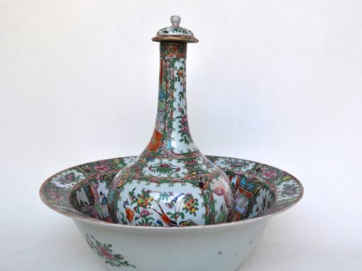 A CANTONESE BASSIN WITH  EWER  , 19  century